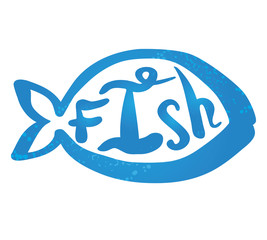 Vector illustration of a symbol blue simple fish