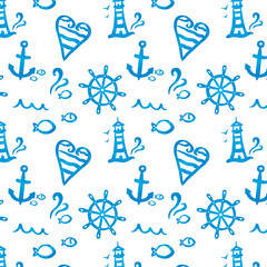 Vector illustration of seamless pattern with anchors, lighthouses, fishes and sea symbols