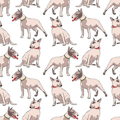 Dogs. Bull Terrier. Seamless vector pattern (background).