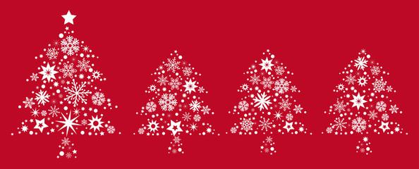 vier Weihnachtsbäume  rot und weiß - Banner