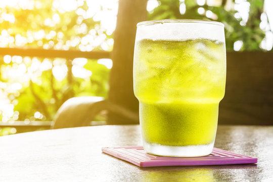 top view iced Green tea
