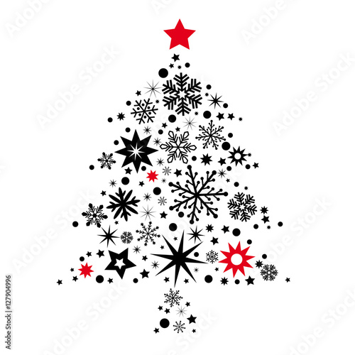 weihnachtsbaum mit sternen geschm ckt schwarz und rot. Black Bedroom Furniture Sets. Home Design Ideas