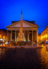 Fototapete - view of ancient Pantheon church in Rome illuminated at night, Italy, toned