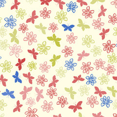 Color floral pattern with flowers and butterfly