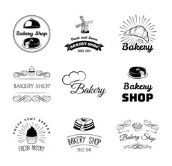 Bakery products and pastry Badges And Labels cupcake, cake, chef hat, bread, croissant. Menu restaurant. Pastry cook. Cooking. Baker