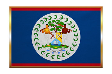 Flag of Belize , golden frame, fabric texture