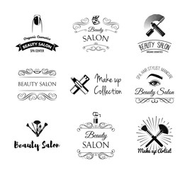 Beauty Salon Design Elements in Vintage Style. Lipstick, mascara, lips, manicure, women eyes, make up brushes, nail and finger. Vintage filigree frame, logo, banner and label.