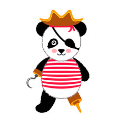 Cute panda pirate standing with hat and hook. Vector Illustration Isolated On White