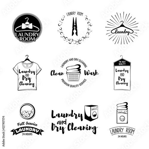 """""""vector set of laundry logos, emblems and design elements ..."""