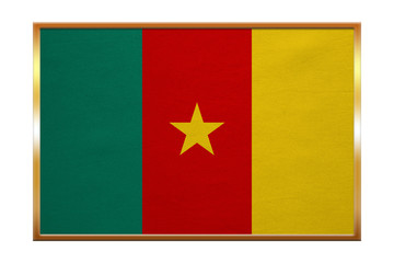 Flag of Cameroon , golden frame, fabric texture