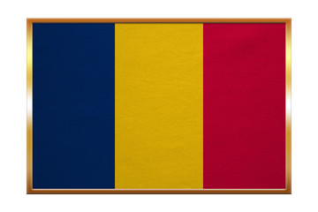 Flag of Chad , golden frame, fabric texture