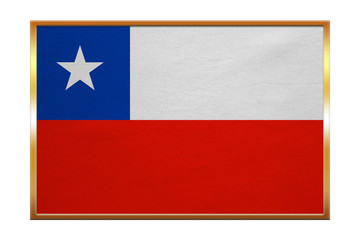 Flag of Chile , golden frame, fabric texture