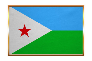 Flag of Djibouti , golden frame, fabric texture