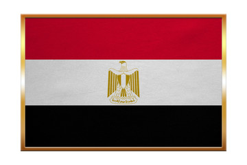 Flag of Egypt , golden frame, fabric texture