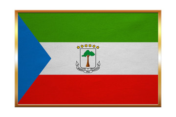 Flag of Equatorial Guinea, golden frame, textured