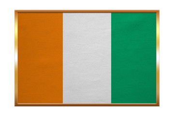 Flag of Ivory Coast , golden frame, fabric texture