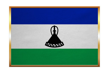 Flag of Lesotho , golden frame, fabric texture