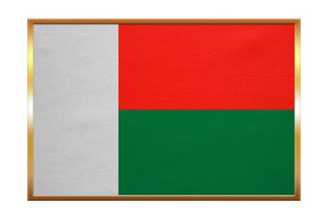 Flag of Madagascar , golden frame, fabric texture