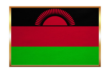 Flag of Malawi , golden frame, fabric texture