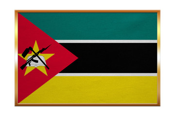 Flag of Mozambique , golden frame, fabric texture