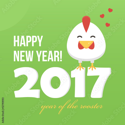 flat design new year card with cute cartoon rooster symbol of the year 2017