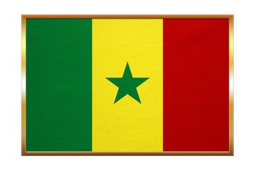 Flag of Senegal , golden frame, fabric texture