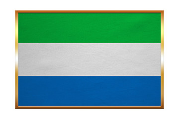 Flag of Sierra Leone, golden frame, fabric texture