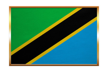 Flag of Tanzania , golden frame, fabric texture