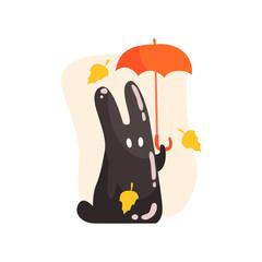 Black Tar Jelly Rabbit Shape Monster Holding Orange Umbrella Under Falling Yellow Leaves Outdoors In Autumn Season