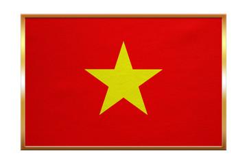 Flag of Vietnam , golden frame, fabric texture