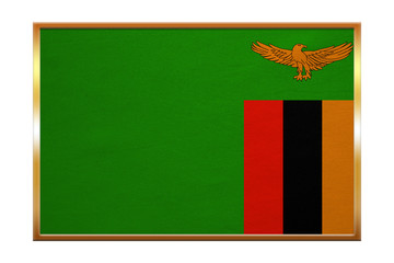 Flag of Zambia , golden frame, fabric texture