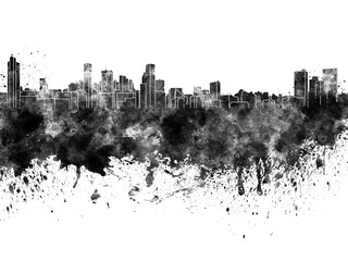 Baltimore skyline in black watercolor on white background