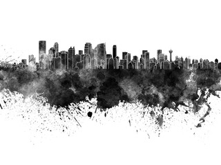 Fotomurales - Calgary skyline in black watercolor on white background