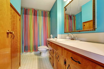 Remodeled bathroom interior with colorful shower curtain