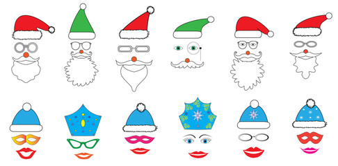Christmas Party set - Glasses, hats, lips, eyes, diadems, mustaches, masks - for design, photo booth in vector