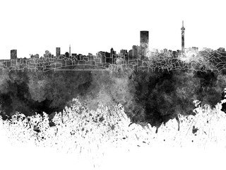 Wall Mural - Johannesburg skyline in black watercolor on white background