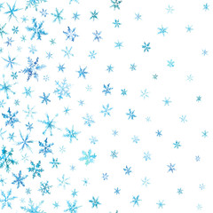 Vertical pattern of watercolor snowflakes isolated on white.
