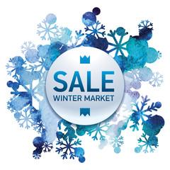 Winter market, seasons sale, snow bouquet, handmade painted, abstract vector design art