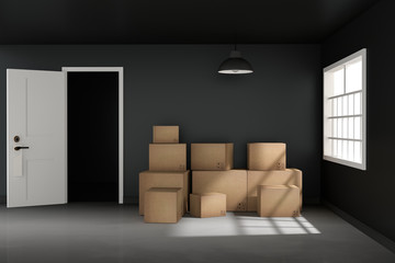 3D rendering : illustration of moving boxes at a new office.new home.Interior moving house with cardboard boxes.light from outside of the window.door opened
