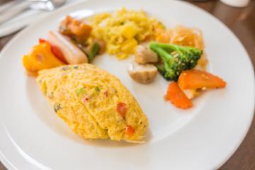Closeup of  egg omelette for breakfast .