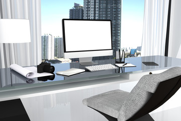3D Rendering : illustration close up of Creative designer office desktop with blank computer,keyboard,camera,lamp and other items on background with window and city view. clipping path include