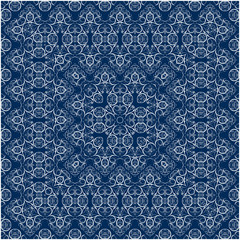 Blue scarf with white pattern