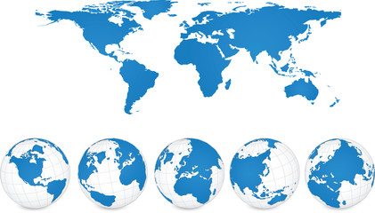 World Map and Globe Detail, Vector Illustration EPS 10.