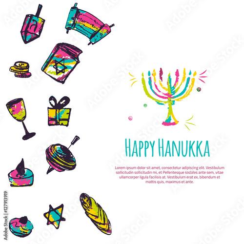 Happy hanukkah colorful greeting card with hand drawn elements on happy hanukkah colorful greeting card with hand drawn elements on white background menorah dreidel m4hsunfo