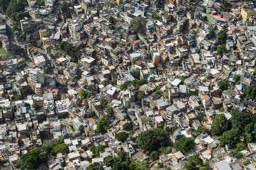 Crowded Brazilian Rocinha favela shanty town spans the valley in Rio de Janeiro Brazil