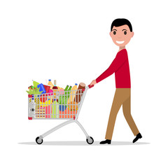 Vector man with shopping trolley full groceries