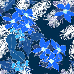Seamless pattern with xmas elements: holly, flowers and fir-tree. All elements are blue and white.