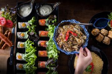 Enjoy eating more thai food and organic salad