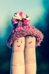 Happy fingers with cap - retro style