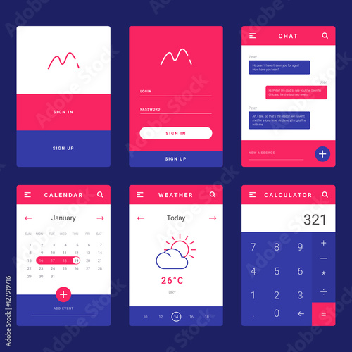ui ux and gui template layout for mobile apps statistic dashboard calculator and